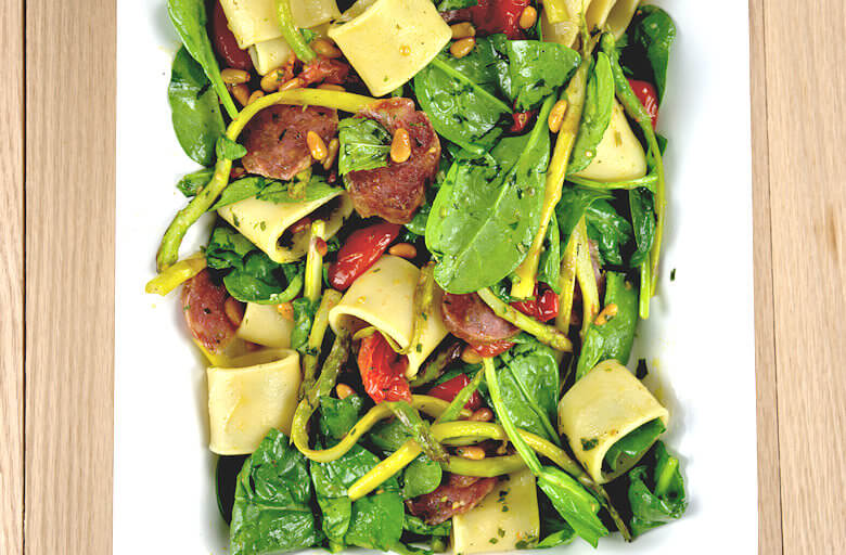 Pasta Salad with Asparagus, Spinach and Salami3
