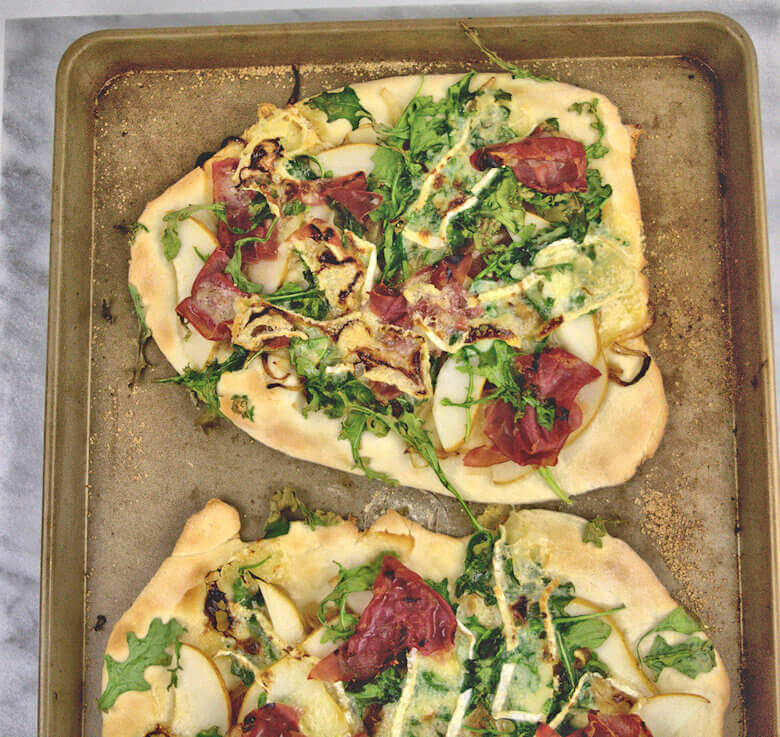 Picture of Pear Brie and Prosciutto Pizza with Honey Drizzle