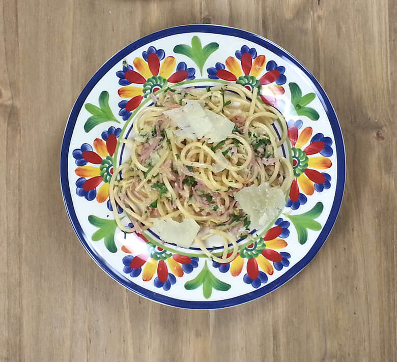 Picture of plate with Pici Pasta with Cabbage, Ham and Pecorino Cheese
