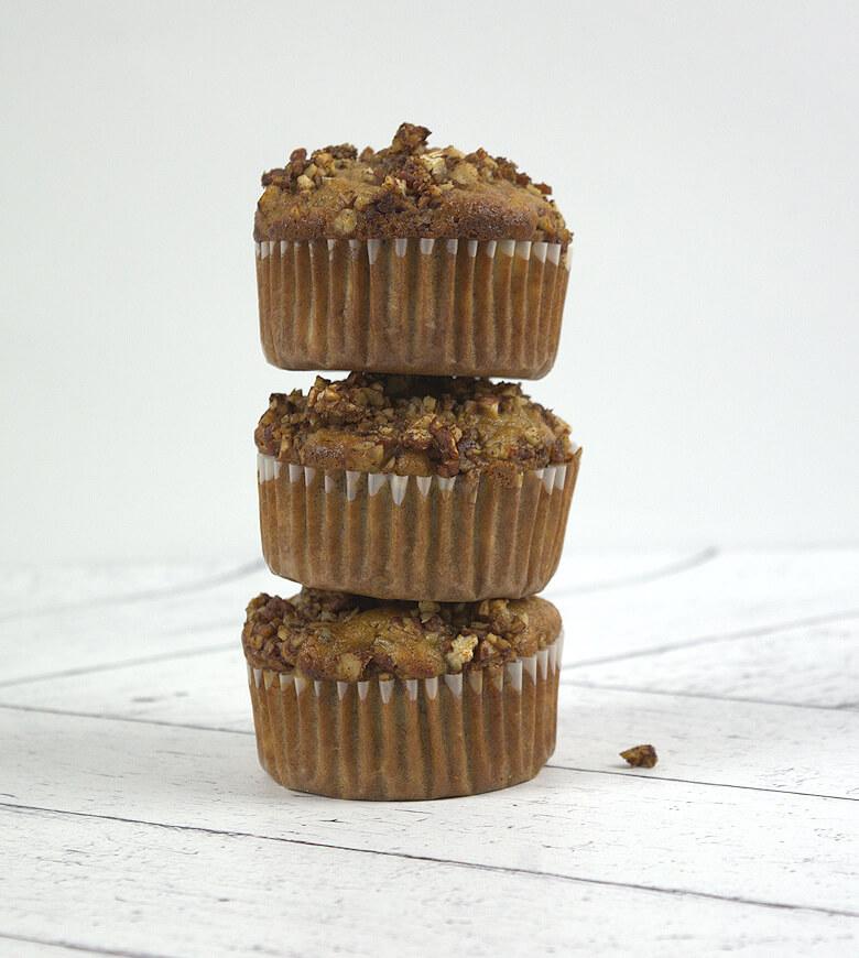 Tower of Banana Pecan Muffins