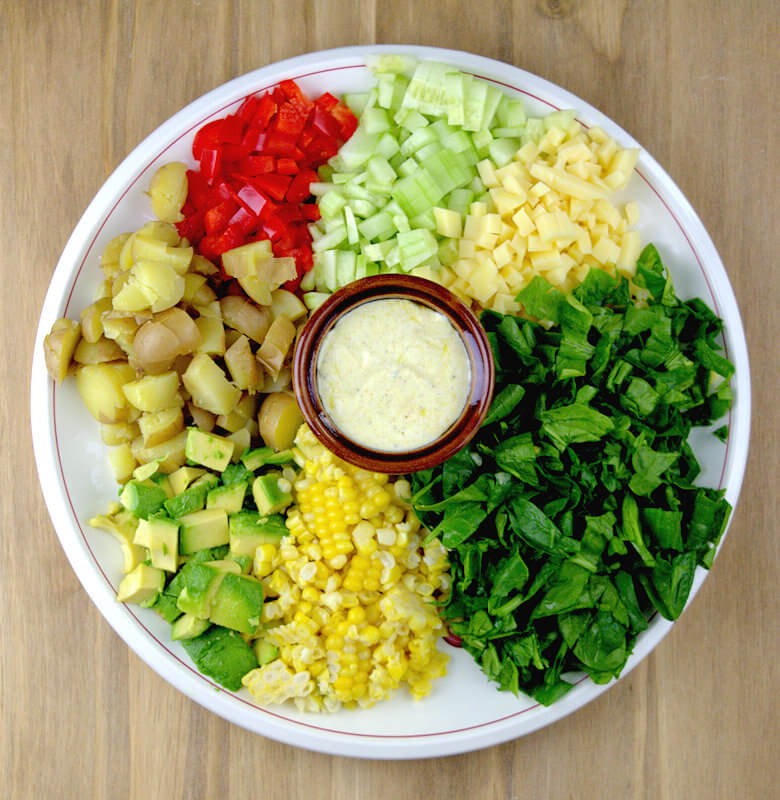 Picture of ingredients to make potato veggie salad