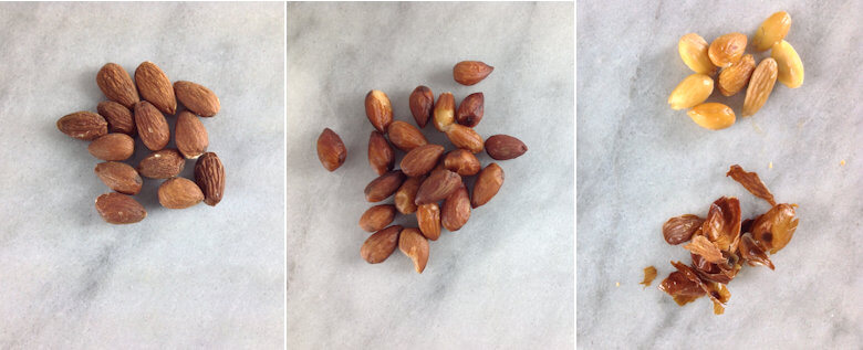 Picture how to blanch almonds