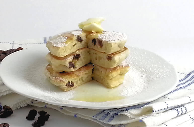 Raisin Dessert Pancakes Cut Butter