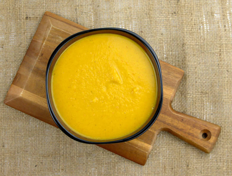 Top down picture of Roasted Squash Carrot Soup without any decoration