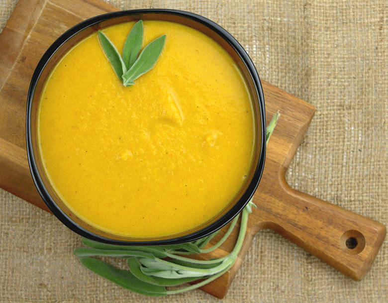 Close up picture of Roasted Squash Carrot Soup with Chicken