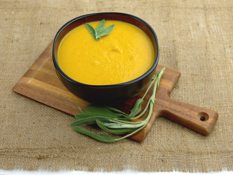 Picture of 1 bowl with Roasted Squash Carrot Soup with Chicken
