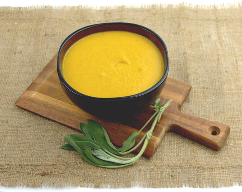 Picture of bowl of Roasted Squash Carrot Soup with Chicken
