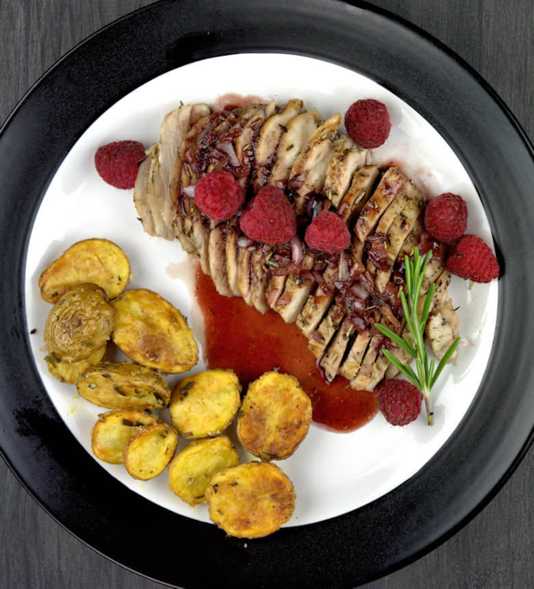 Top down picture of Rosemary Chicken with Raspberry Glaze