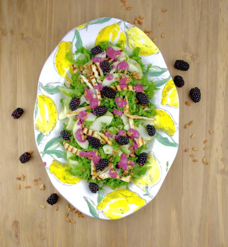 Salad with Grilled Halloumi & Blackberry Dressing1