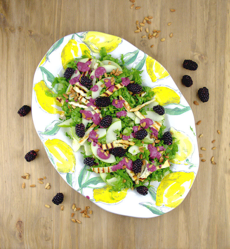 Diagonal picture of Salad with Grilled Halloumi & Blackberry Dressing