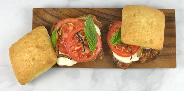 Salami Caprese sandwich, top off