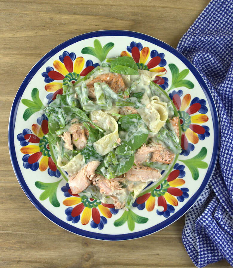 Salmon, Asparagus and Spinach Pappardelle1