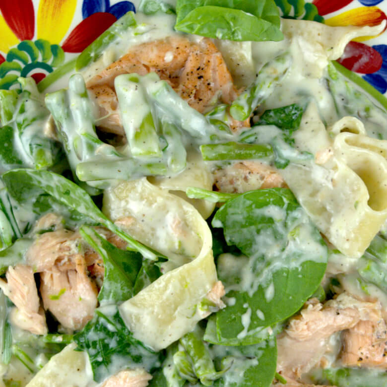 Close up picture of Salmon Asparagus and Spinach Pappardelle