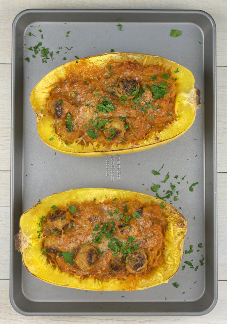 Picture of two half Spaghetti Squash with Mini Turkey Meatballs
