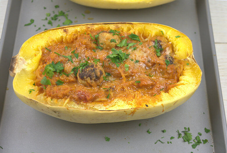 Spaghetti Squash with Mini Turkey Meatballs