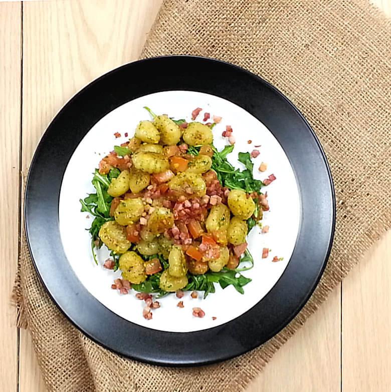 Stir Fried Gnocchi Arugula Pancetta1
