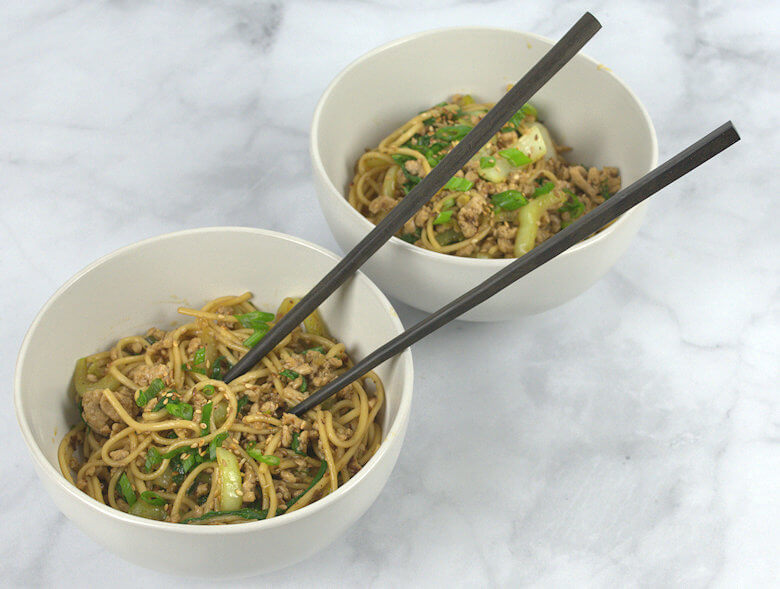 Picture of two bowls of Stir Fried Udon Noodles with Bok Choy