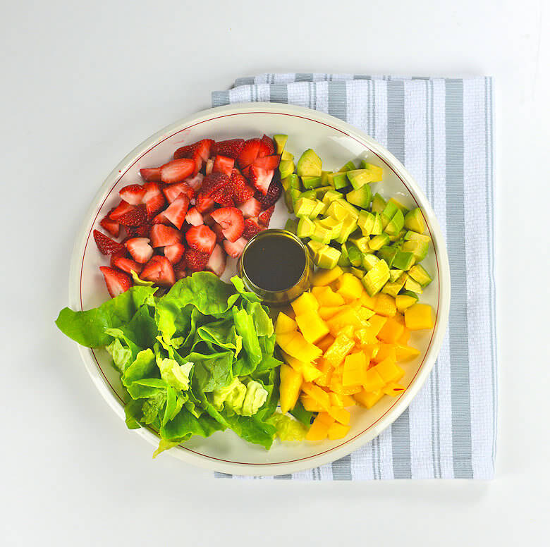 Strawberry Mango Avocado Salad & Balsamic Mustard Dressing