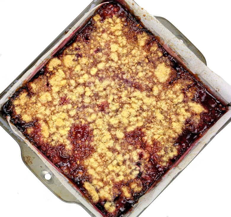 Top down picture of Strawberry Oat Macadamia recipe in baking dish, before cutting