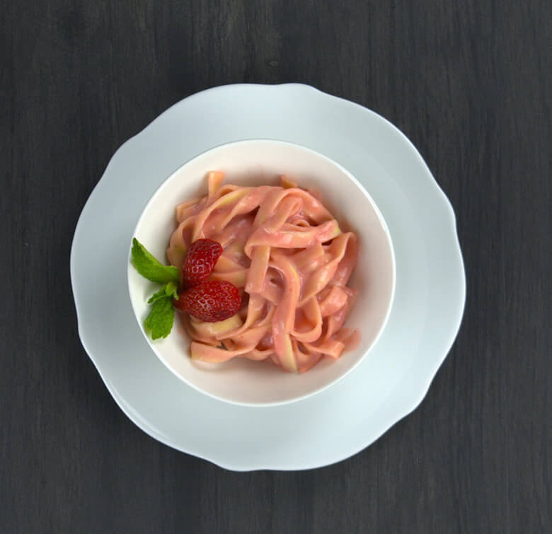 Sweet Pasta Dessert with Strawberry Sauce