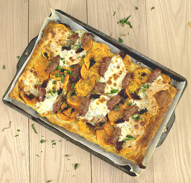 Sweet Potato Slab Pie with Sausage & Mozzarella1