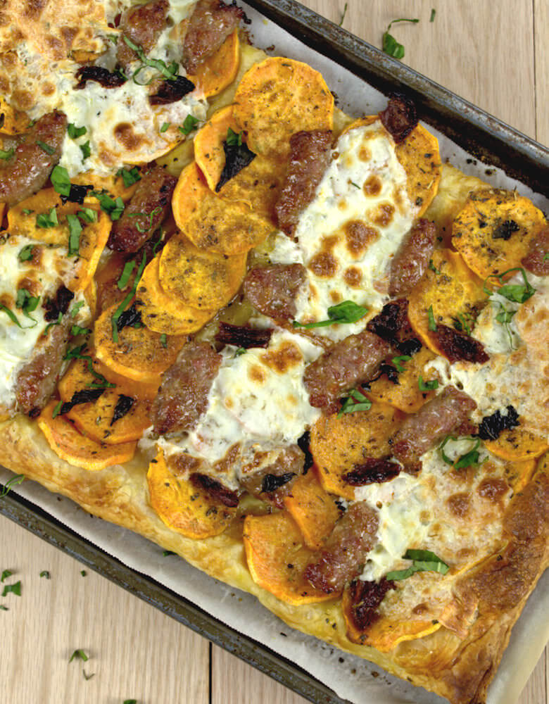 Sweet Potato Slab Pie with Sausage & Mozzarella4