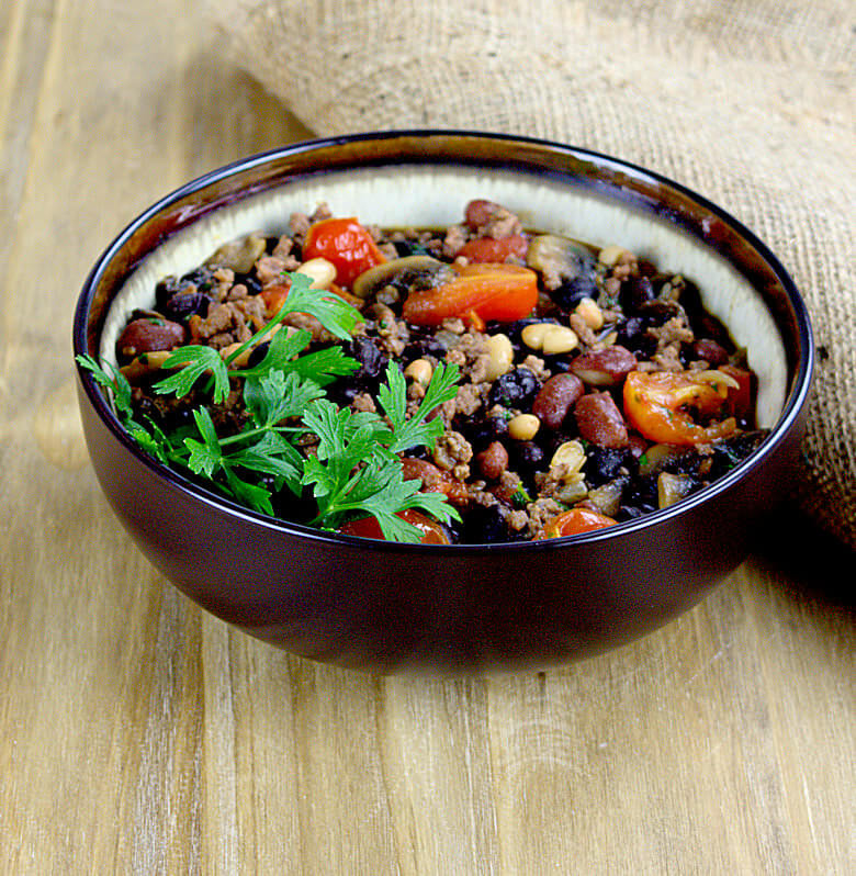 Picture of a bowl with Three Beans Bake with Tomato and Beef