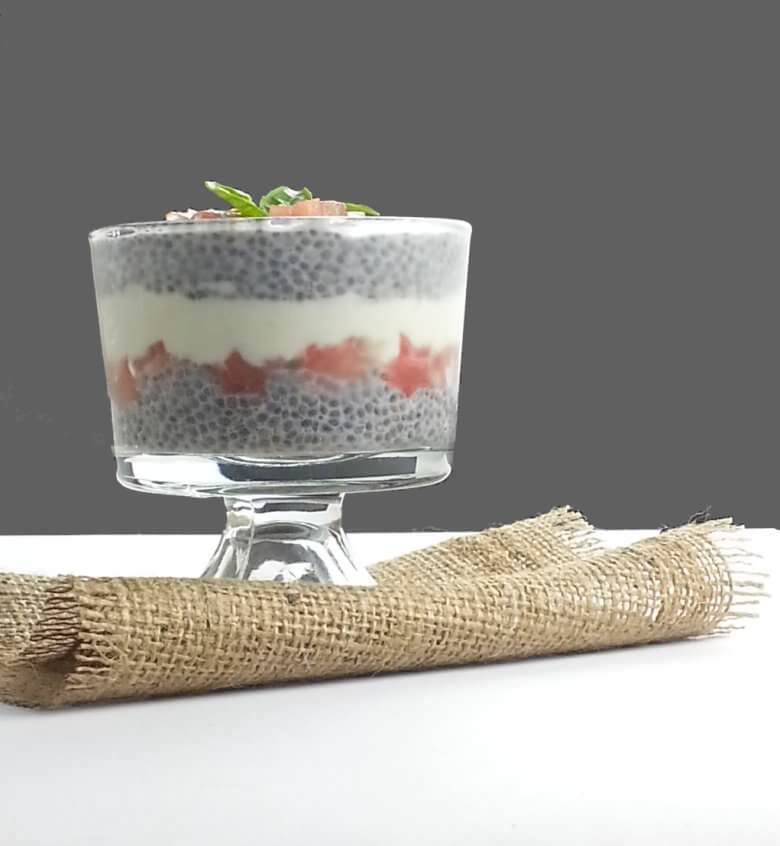 Picture of Watermelon Feta Dessert with Chia Seeds with dark background