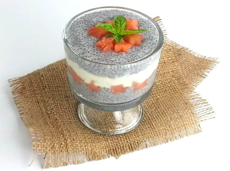 Picture of Watermelon Feta Dessert with Chia Seeds, 45 degrees