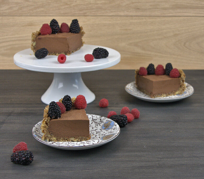 Wedges of chocolate mousse pie