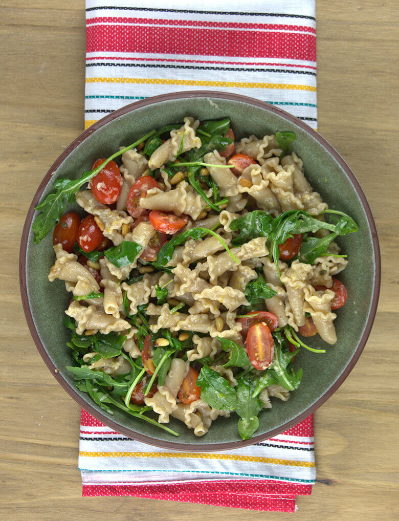 Whole Grain Trumpets with Tomatoes and Arugula1