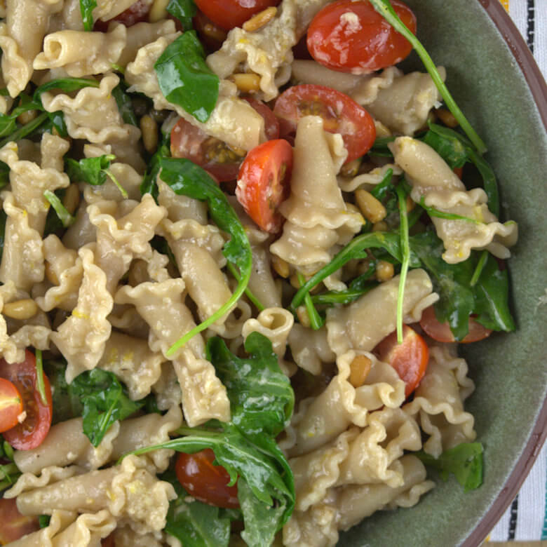 Whole Grain Trumpets with Tomatoes and Arugula3