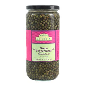Picture of green peppercorns in brine