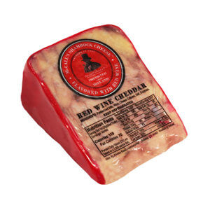 Picture of irish cheddar with red wine