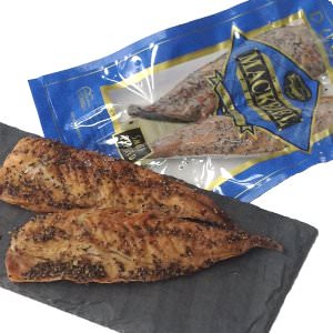 Picture of smoked peppered wild mackerel fillets