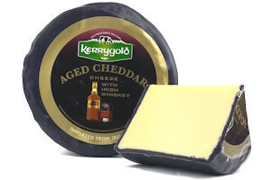 Picture of aged cheddar with irish whiskey cheese