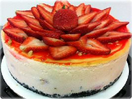 Picture of strawberry chocolate chip cheesecake