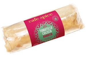 Picture of tomatillo chicken burrito
