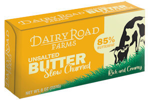 Picture of unsalted butter diary road
